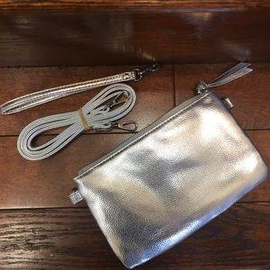 NEW Shiny Silver Convertible Clutch Wristlet Purse
